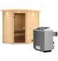 WOODFEELING Sauna »Svea«, inkl. 9 kW Saunaofen mit integrierter Steuerung für 3 Personen-Thumbnail
