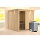 KARIBU Sauna »Valga«, inkl. 9 kW Saunaofen mit integrierter Steuerung für 4 Personen-Thumbnail