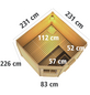 WOODFEELING Saunahaus »Hilda«, BxTxH: 231 x 231 x 226 cm, 9 kW Ofen mit ext. Steuerung-Thumbnail