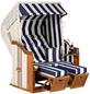 SUNNY SMART Strandkorb »Rustikal«, BxHxT: 125 x 160 x 90 cm, Halblieger, weiß/natur-Thumbnail