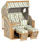 SUNNY SMART Strandkorb »Rustikal«, BxHxT: 135 x 160 x 90 cm, Dreiviertelllieger, weiß/teak-Thumbnail