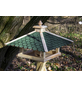 DOBAR Vogelfutterhaus, für Wildvögel, Kiefernholz/Bitumen, natur/grün-Thumbnail