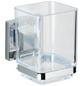 WENKO Zahnputzbecher »Vacuum-loc Quadro«, Edelstahl/Kunststoff, silberfarben/transparent, eckig-Thumbnail