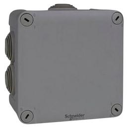 Schneider Electric Abzweigkasten, Mureva, 105x105x55 mm, mit 7 Tüllen, Grau