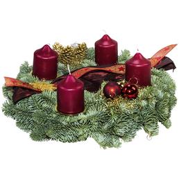GARTENKRONE Adventskranz, Edeltanne, Ø: 30 cm, rot dekoriert