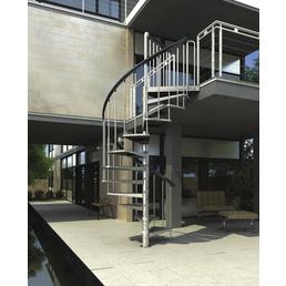 DOLLE Außenspindeltreppe »Gardenspin«, 11 Lochblechstufen, grau, 282 cm Geschosshöhe