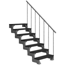 DOLLE Außentreppe »Gardentop«, 7 Vollstufen, anthrazit, 126 cm Geschosshöhe