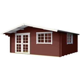 LASITA MAJA Blockbohlenhaus, BxT: 485 x 485 cm (Außenmaße), Satteldach