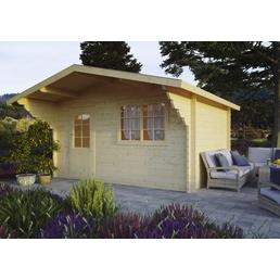 Kiehn-Holz Blockbohlenhaus »KH«, BxT: 446 x 432 cm (Aufstellmaße), Satteldach