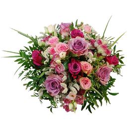 Blumenstrauß mit Rosen, Lysianthus, Strandflieder in rosa/pink, Ø 32–36 cm