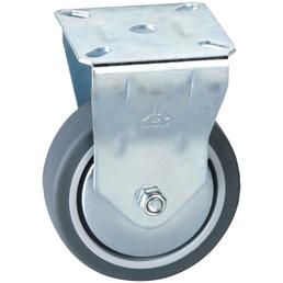 DÖRNER+HELMER Bockrolle, Thermoplastischer Kunststoff (TPE), silberfarben, mit Platte