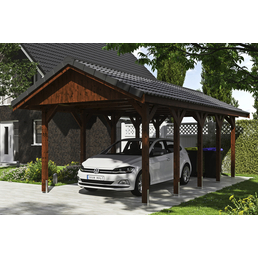 SKANHOLZ Carport »Wallgau«, Außenmaß BxT: 380 x 750 cm, nussbaum
