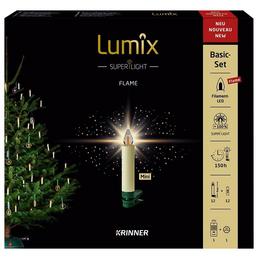Krinner Christbaumkerzen Lumix Superlight Flame mini, Elfenbein, 12er