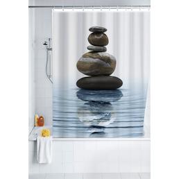 WENKO Duschvorhang »Meditation«, B x H: 180 x 200 cm, steine/wellen