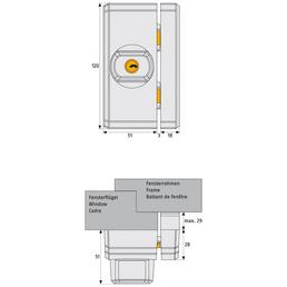 ABUS Fensterzusatzschloss FTS 96 Stahl/Kunststoff weiß