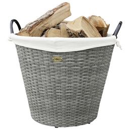 HABAU Feuerholzkorb, Grau | Beige, Rund, Durchmesser: 42 cm