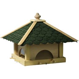 Futterhaus, für Wildvögel, Kiefernholz/Kunststoff/Bitumen, natur/grün