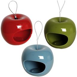 LUXUS-VOGELHAUS Futterspender, für Wildvögel, keramik/Edelstahl, rot/grün/blau