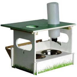 DOBAR Futterstation »Hopsi«, für Nager, Kiefernholz/Edelstahl/Kunststoff, grün/weiß