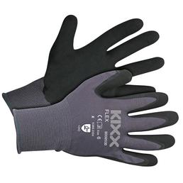 KIXX Gartenhandschuhe »Flex«, Größe: 6, grau/schwarz, Latexbeschichtet