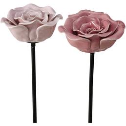 BOLTZE Gartenstab »Rose«, Keramik, mehrfarbig