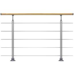 DOLLE Geländersystem, Prova, Silber | Buche, Bodenmontage, 100 x 150 cm
