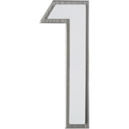 SÜDMETALL Hausnummer, 1, Weiß, Kunststoff   Edelstahl, 11,7 x 17 x 1,8 cm, nachtleuchtend