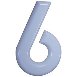 SÜDMETALL Hausnummer, 6, Weiß, Kunststoff, 15,7 x 22,7 x 1,8 cm