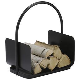 ALPERTEC Holzkorb, schwarz/silberfarben, geeignet für Holzscheite