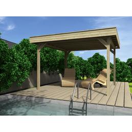 WOLFF Holzpavillon »Elba«, flach, quadratisch, BxT: 304 x 304 cm, inkl. Dacheindeckung