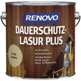 RENOVO Holzschutz-Lasur, für außen, 4 l, farblos, seidenglänzend