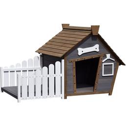 DOBAR Hundehütte, für Hunde, Hemlockholz, grau/braun/weiß