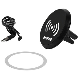 EUFAB Induktionsladegerät mit magn. Handyhalter, Schwarz, Micro-USB-A / USB-B