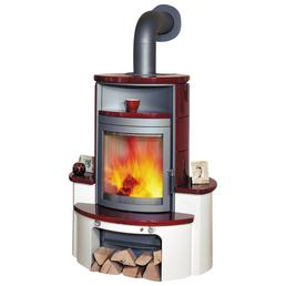 HARK Kachelofen »Avenso«, 7 kW, weiß/bordeauxrot/creme