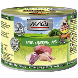 MAC'S Katzen-Nassfutter, Ente/Kaninchen/Rind, 6 x 200 g