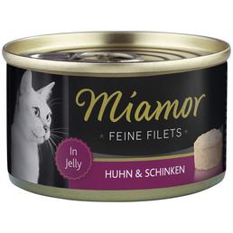 MIAMOR Katzen Nassfutter »Feine Filets in Jelly«, Huhn / Schinken, 24x100 g