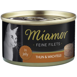 MIAMOR Katzen Nassfutter »Feine Filets in Jelly«, Thunfisch / Wachtel, 24x100 g