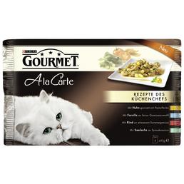 GOURMET Katzen Nassfutter »Gourmet a la Carte«, Huhn / Rind / Forelle / Seelachs, 12x4,08 kg