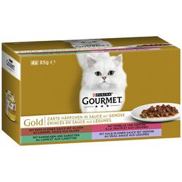 GOURMET Katzen Nassfutter »Gourmet Zarte Häppchen«, Ente / Forelle / Kaninchen / Kalb, 12x4,08 kg