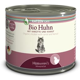 HERMANNS MANUFAKTUR Katzen Nassfutter, Huhn / Karotte / Kamut, 12x200 g