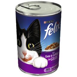 FELIX Katzen Nassfutter »in Gelee«, Ente / Geflügel, 24x400 g