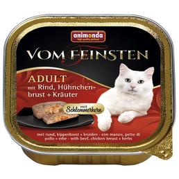 VOM FEINSTEN Katzen-Nassfutter, Kräuter/Rind/Hühnchen, 100 g
