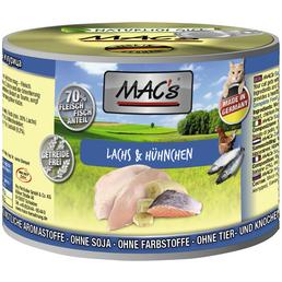 MAC'S Katzen-Nassfutter, Lachs/Huhn, 6 x 200 g