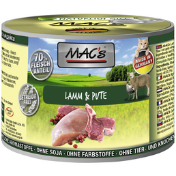 MAC'S Katzen-Nassfutter, Lamm/Pute, 6 x 200 g