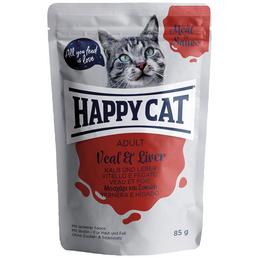 HAPPY CAT Katzen Nassfutter »Meat in Sauce«, Kalb / Leber, 24x85 g