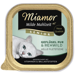 MIAMOR Katzen Nassfutter »Milde Mahlzeit«, Geflügel / Reh, 16x100 g
