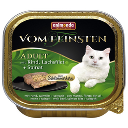 VOM FEINSTEN Katzen-Nassfutter, Rind/Lachs/Spinat, 100 g