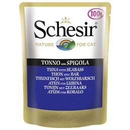 SCHESIR Katzen Nassfutter, Thunfisch / Barsch, 20x100 g