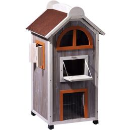DOBAR Katzenhaus »Fancy Cat«, für Katzen, hemlockholz/Bitumen, grau