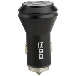 2GO Kfz-Ladegerät, Silber | Schwarz, 1x USB-Buchse 2,4 A, 1x USB-Buchse 1 A